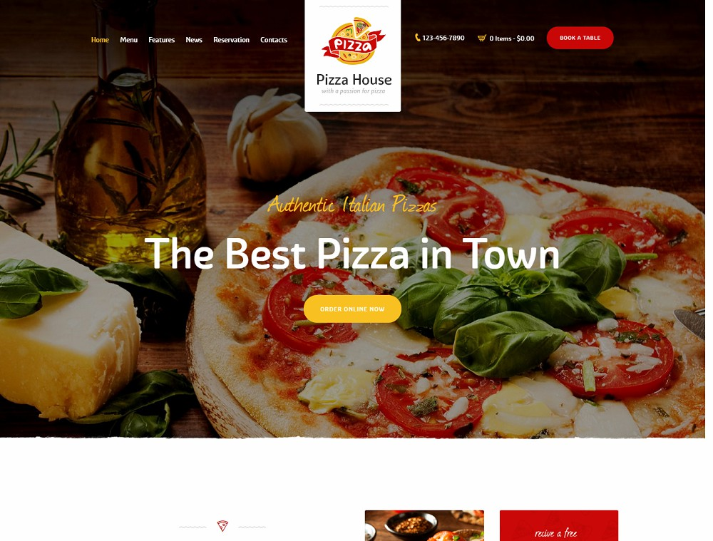 Pizza House (food ordering WordPress theme)