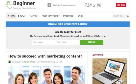 Beginner WordPress Marketing Blog Theme