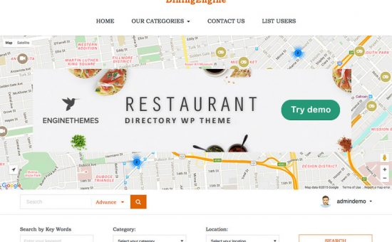 DiningEngine WordPress Restaurants Directory Listings Theme