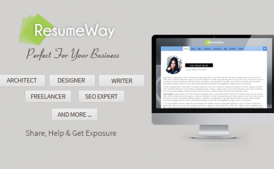 ResumeWay One Page Portfolio WordPress theme