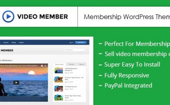 Video Member WordPress Online Video Membership Theme